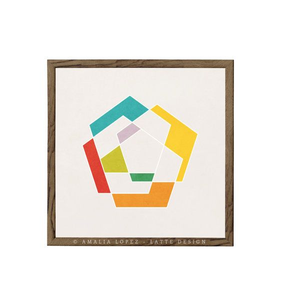 Pentagon 1. Geometric art print abstract print by LatteDesign