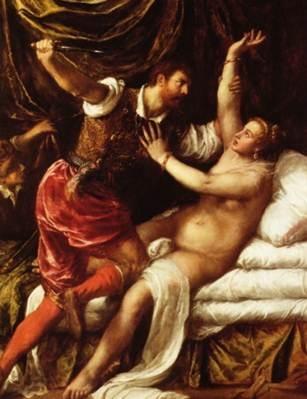Rape of Lucretia  위의 그림은 티치아노의 rape of lucretia로 타르퀴니우스가 루크레티아를 범하는 모습을 표현하고 있다. 타르퀴니우스는 고대 로마 최후의 왕으로, 루크레티아의 남편이 집에 없는 틈을 타 루크레티아를 협박하여 그녀를 범한다. 루크레티아는 남편이 돌아오자 모든 사실을 알리고 복수를 다짐받은 후 자결한다. 결국 타르퀴니우스는 쫓겨나게 되고 로마는 공화정 체제를 시작하게 된다