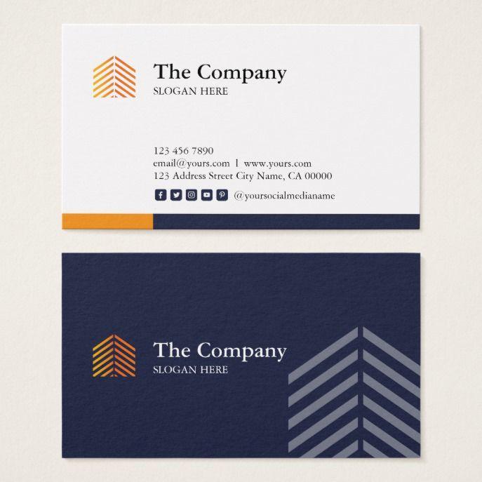 Construction Architect Social Media Business Card Zazzle Com Media Business Cards Social Media Business Cards Social Media Business