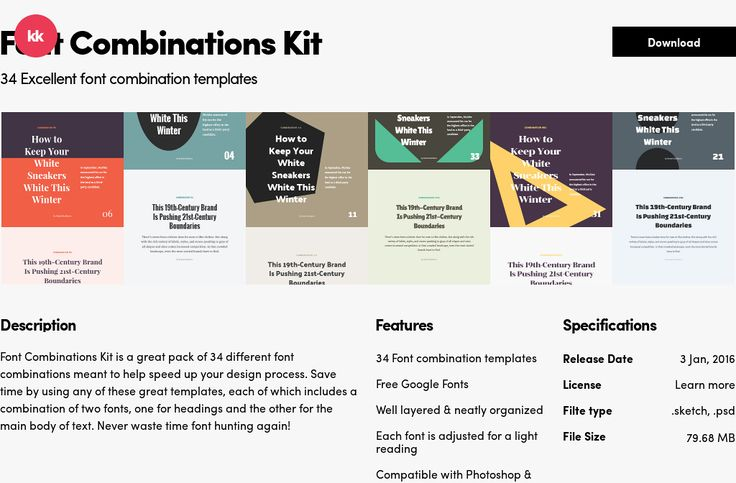 34 Excellent font combination templates