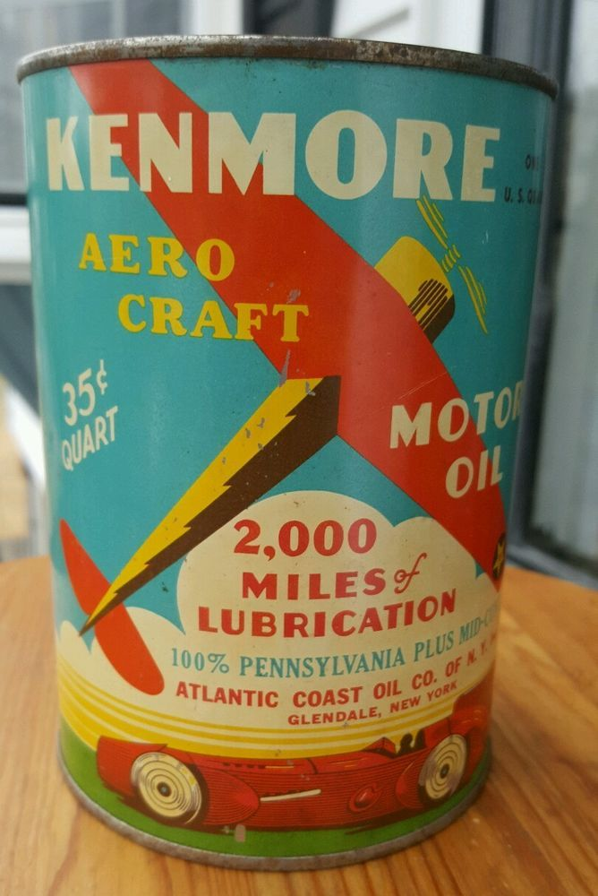 Extremely Rare Kenmore Aero Craft Motor Oil Can. Race Car Sign Gas. Holy Grail.