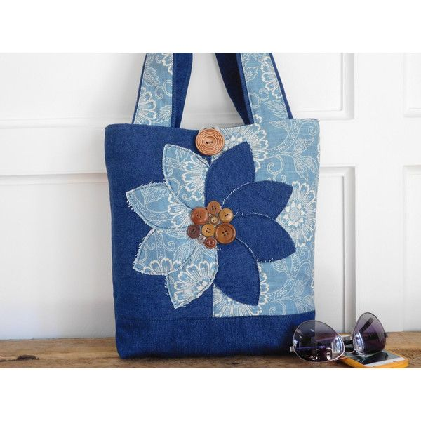 Denim Tote Bag Navy Shoulder Bag Tote Bag for Teachers, Christmas Gift... ($79) ❤ liked on Polyvore featuring bags, handbags and tote bags