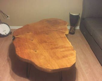 reclaimed wood bolted slab coffee table.