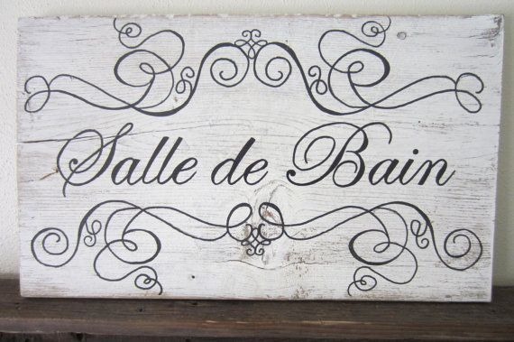 Salle De Bain French Bathroom Decor Barnwood Sign By