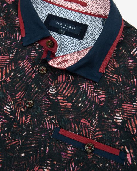 Tropical leaf print polo shirt - Dark Red | Tops & T-shirts | Ted Baker