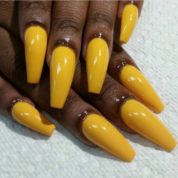 Yellow Coffin Nails Double Team Dynamicpunch Thunder Yellow Manicures Dark Nails Coffin