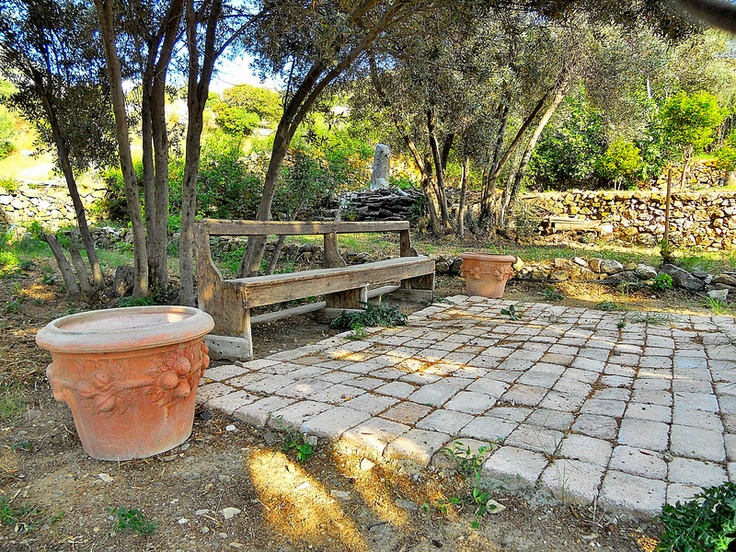 Monastery bench in the garden on tinos island