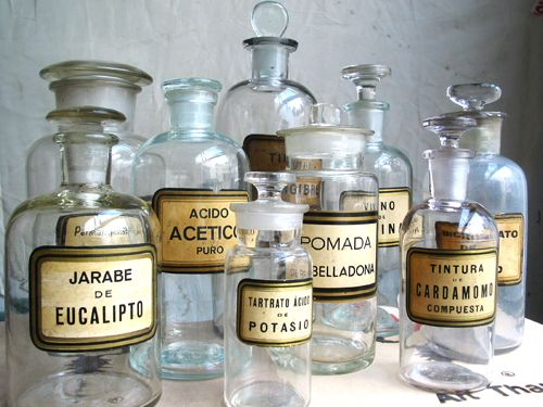 Clear Apothecary Jars Group of Ten