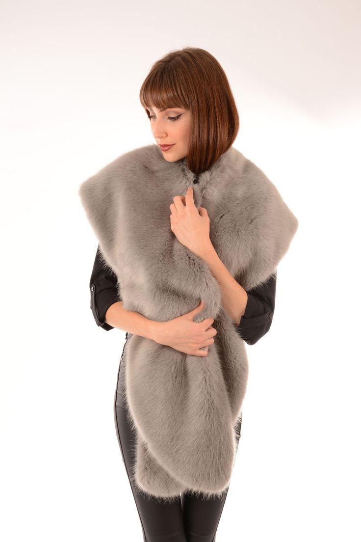 Faux Fur Wrap | Jayley Grey Faux Fur Wraps & Collars