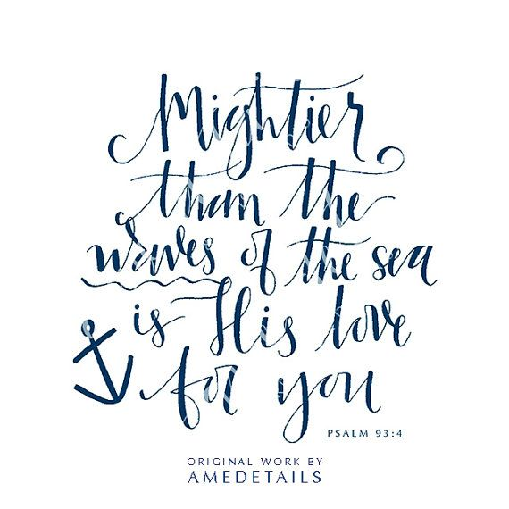 Original Calligraphy Nautical Bible Verse Print by AMEdetails