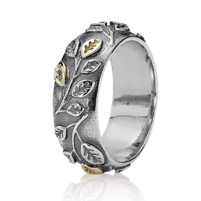 Pandora Silver and 14Ct Gold Leaf Ring 190140. With its delicate Sterling Silver leaf design band highlighted by hints of 14ct Gold, this elegant ring from Pandora is sure to catch the eye. The intricate design and elegant styling make this ring suitable for any occasion and can be worn alone or stacked with other Pandora rings.