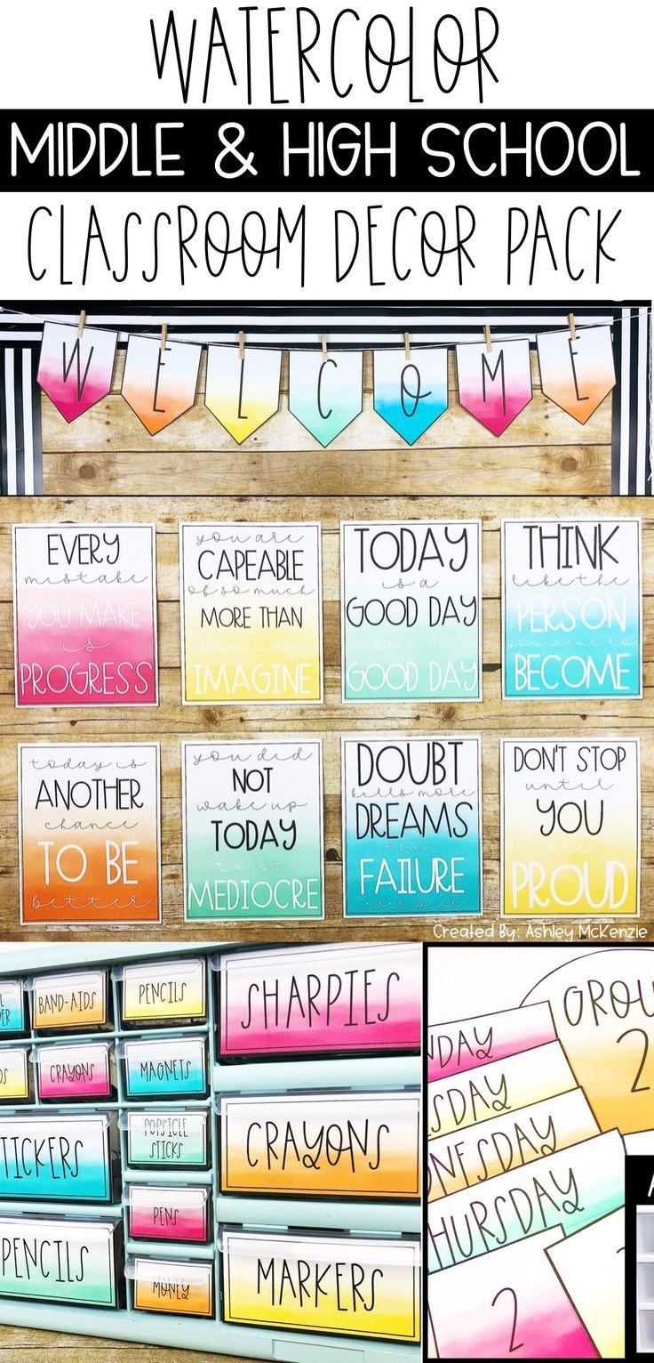 Watercolor Classroom Decor Editable Middle School Classroom