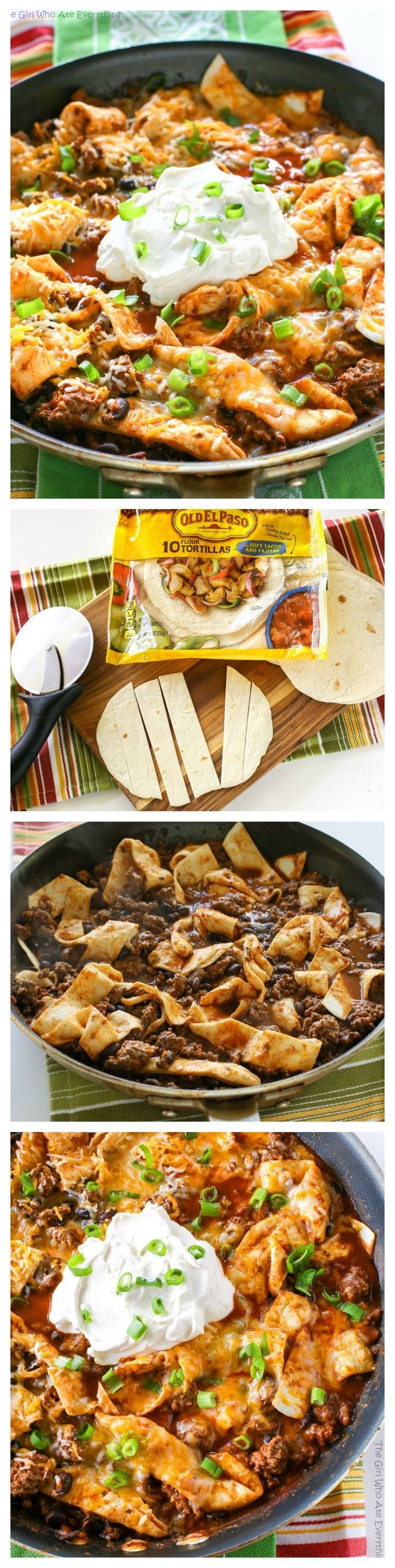 This Easy Beef Burrito Skillet has beef, black beans, salsa, and tortillas all cooked in one skillet. The tortillas turn soft almost like a dumpling. This one pan tasty dish is done in less than 20 minutes. the-girl-who-ate-everything.com