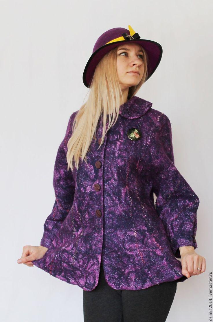 Купить Жакет Лавандовый валяние шерсть - комбинированный, абстрактный, жакет, жакет женский