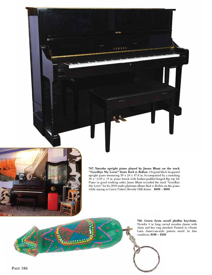 """Yamaha upright piano played by James Blunt on the track """"Goodbye My Lover"""" from Back to Bedlam. Original black lacquered upright piano measuring 59 x 24 x 47.8 in. Accompanied by a matching 30 x 14.25 x 19 in. piano bench with leather-padded hinged flip top lid. Piano in good working order. James Blunt recorded the track """"Goodbye My Lover"""" for his 2004 multi-platinum album Back to Bedlam on this piano while staying at Carrie Fisher's Beverly Hills home."""