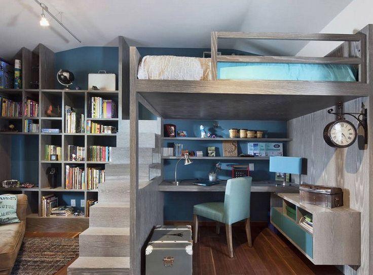 Hochbett mit Schreibtisch und Stufen als Raumteiler