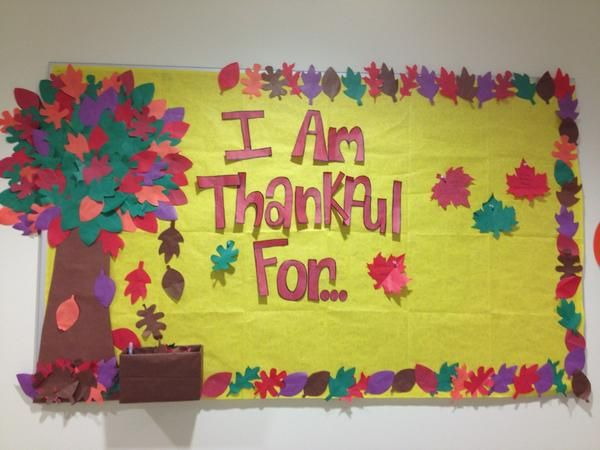 November Bulletin board- could easily turn my apple picking tree into a thankful tree