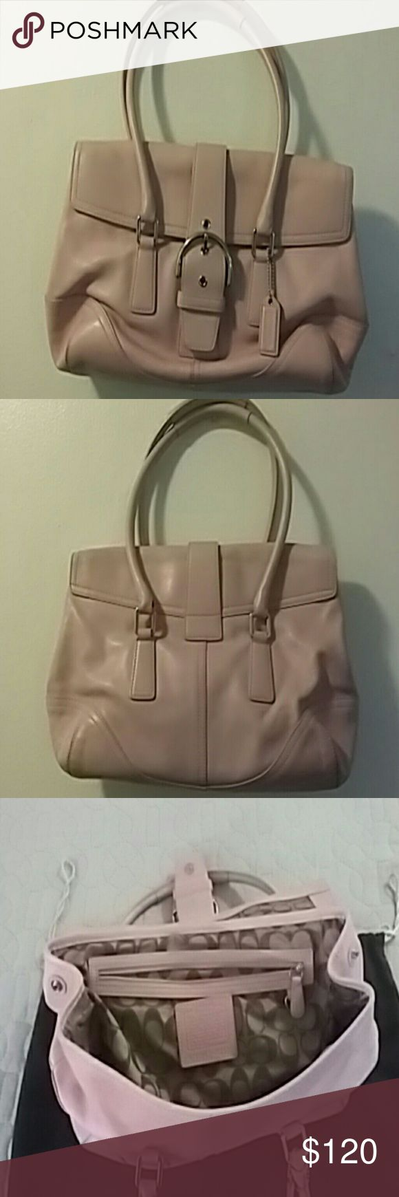 Bag/ Coach Hampton Soho/Satchel Shoulder bag Pink leather w/ beige fabric interior some scuffs on edges and front of bag. Good condition. Coach Bags Satchels