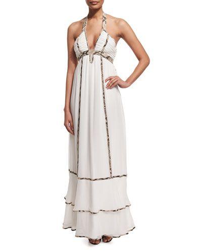 Sakara Paneled Silk Maxi Dress, Ivory