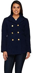 Joan Rivers Classics Collection As Is Joan Rivers Classic Double Breasted Peacoat