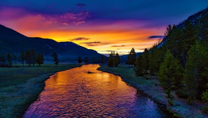 Sundown At Yellowstone Art Print by Gallery One | Society6