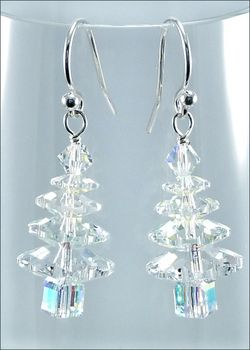 Wintry Crystal Swarovski Christmas Tree Earrings | Jewelry Project Kit | Harlequin Beads and Jewelry Custom Kits