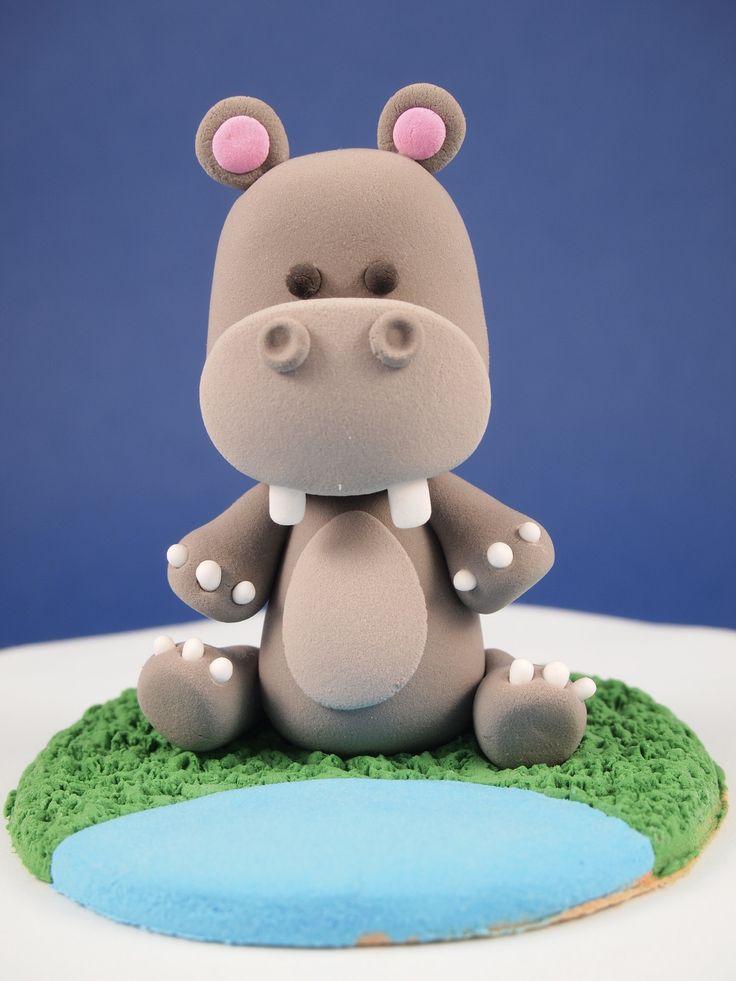 Baby hippo cake topperhippopotamus figurineclay hippo