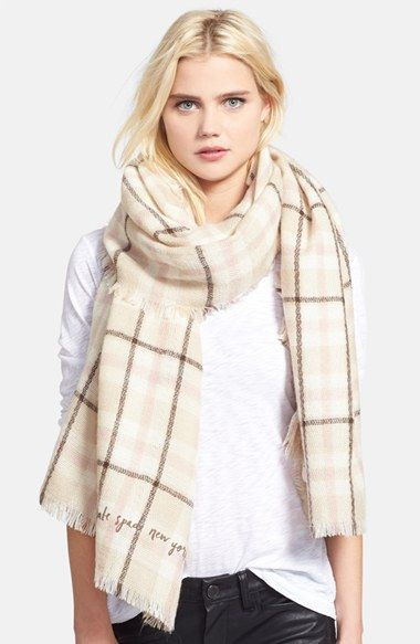 kate spade new york plaid blanket scarf at Nordstrom.com. A graceful, neutral-hued plaid spruces up an oversized, downtown-chic scarf trimmed with dainty fringe.