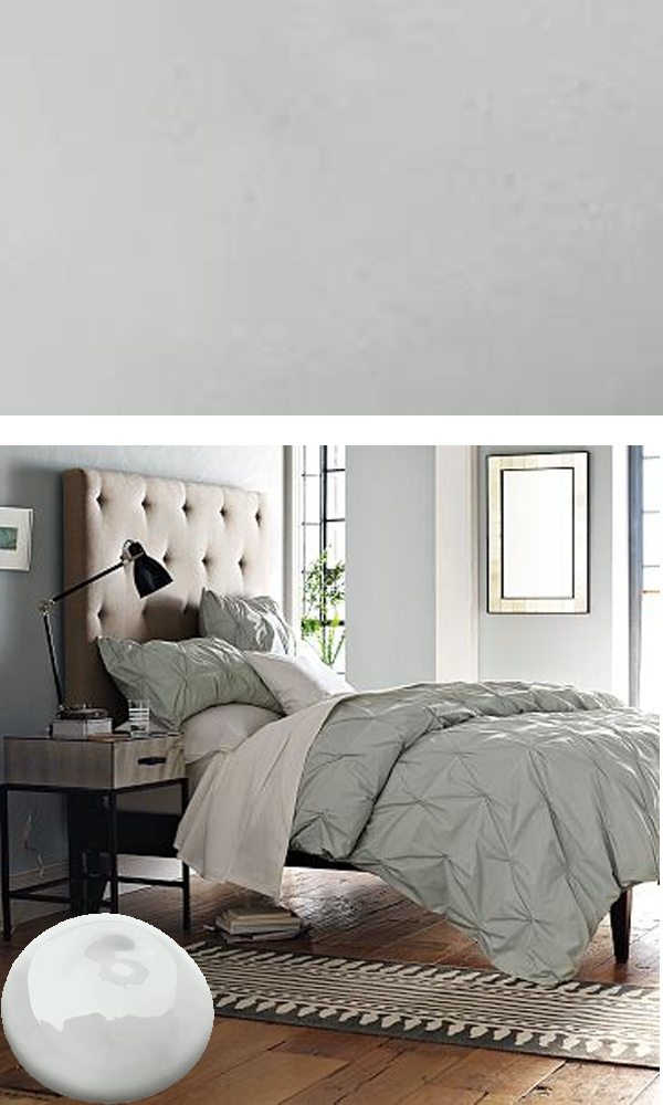ben moore.  silver half dollar.  bathroom wall color, white trim, white towels.                                                       http://www.westelm.com/products/benjamin-moore-ben-paint-silver-half-dollar-c199/