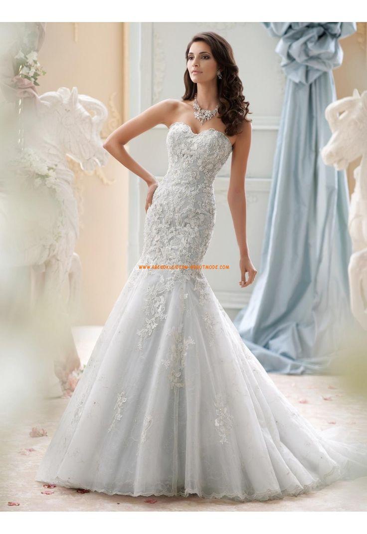 David Tutera Meerjungfrau Romantische Traumhafte Brautkleider aus Organza mit Applikation