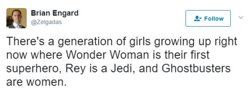 """thejusticethatissocial: """" """" There's a generation of girls growing up right now where Wonder Woman is their first superhero, Rey is a Jedi, and Ghostbusters are women. """" Excuse me I'll just be over here crying """""""