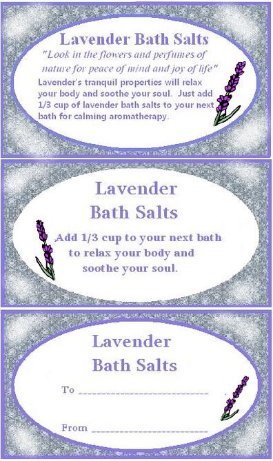Bath salt labels