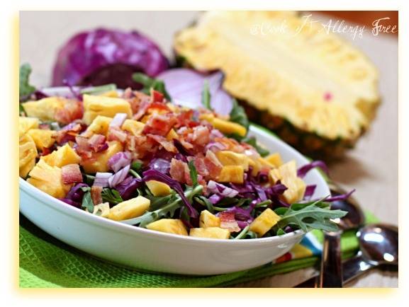 Gluten Free Summer Salad with Pineapple, Bacon, and Arugula by @CookItAllergyFree #AIPaleo