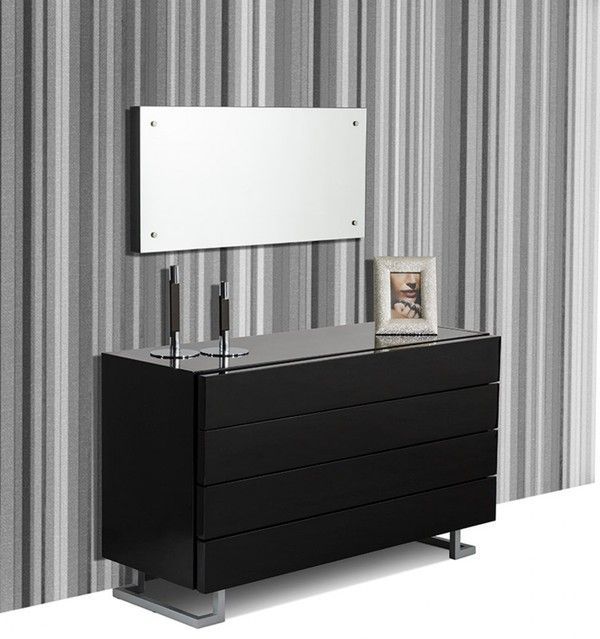 Modrest Dresser Black Lacquer 4 Drawers MDF Legs With Metal Painting