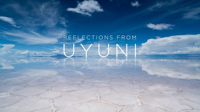 Reflections from Uyuni is a Time-lapse short film that shows the intrinsic beauty of the salt flat of Uyuni and the province of Potosí in Bolivia. The reflections produced by the water flooding the area in the rainy season, are the main protagonist of Enrique Pacheco´s camera, who invites us to dream with impossible images from another world, where the sky meets the earth forming an infinite mirage.  The salt flat of Uyuni with over 10,000km2 is the largest in the world. It is located in ...