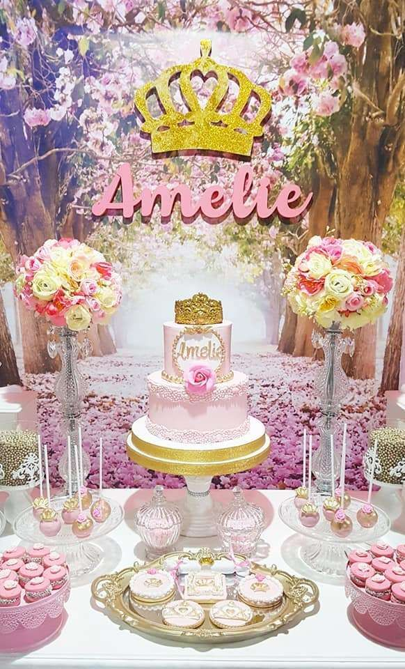 Take A Look At This Pretty Pink Princess 1st Birthday Party The Birthday Cake Is Gorgeou 1st Birthday Princess Fairy Birthday Party First Birthday Decorations
