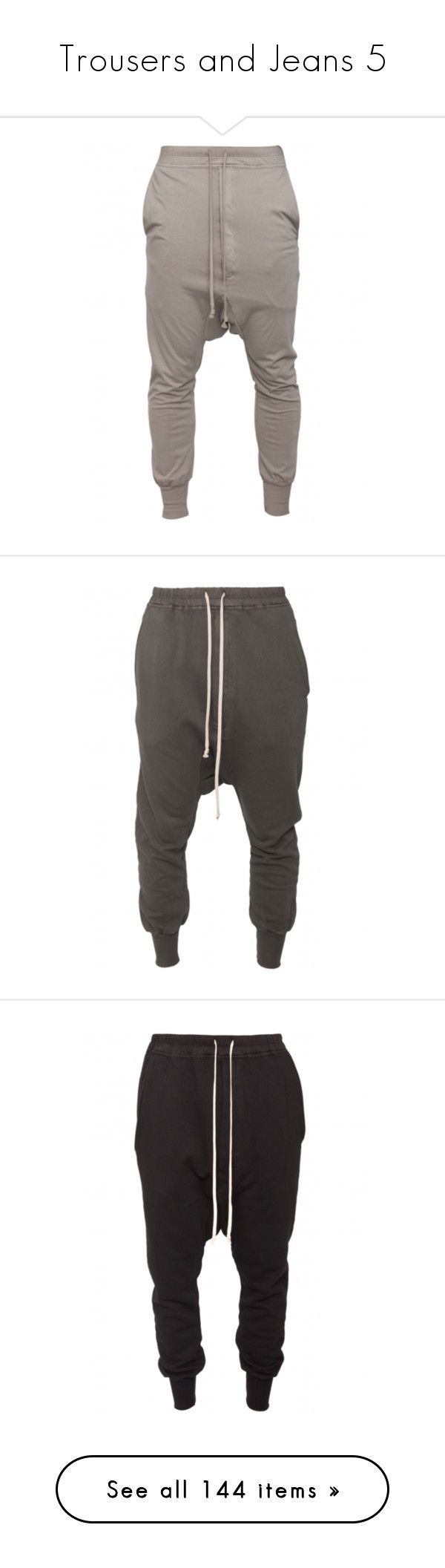 """""""Trousers and Jeans 5"""" by efiaeemnxo ❤ liked on Polyvore featuring pants, bottoms, jeans, sweatpants, men, josh bottoms, pantalones, drkshdw, low crotch pants and drop crotch pants"""