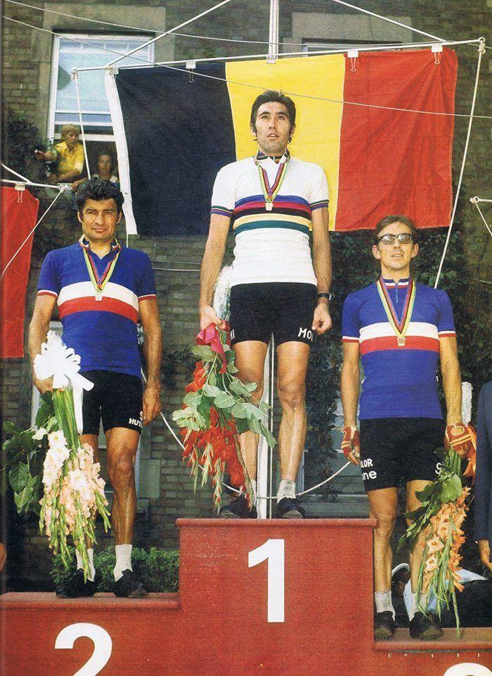 Championnat du Monde sur route à Montréal en 1974 : 1er Eddy Merckx (Belgique), 2ème Raymond Poulidor (France) et 3ème Mariano Martinez (France)