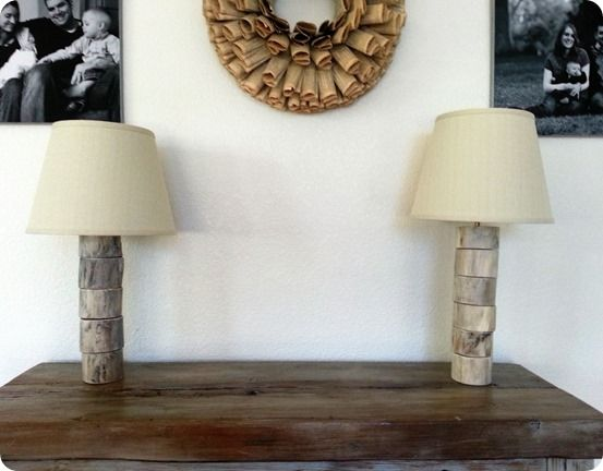 Turn A Log Into A Stacked Wood Slice Lamp Home Stuff Pinterest