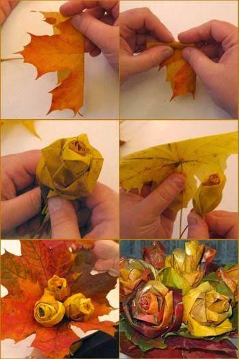 """Π ολύ όμορφα διακοσμητικά τριαντάφυλλα εφάμιλλα των """"ζωντανών"""", φτιαγμένα από φθινοπωρινά φύλλα δέντρων και κατάλληλα για κάθε είδους..."""