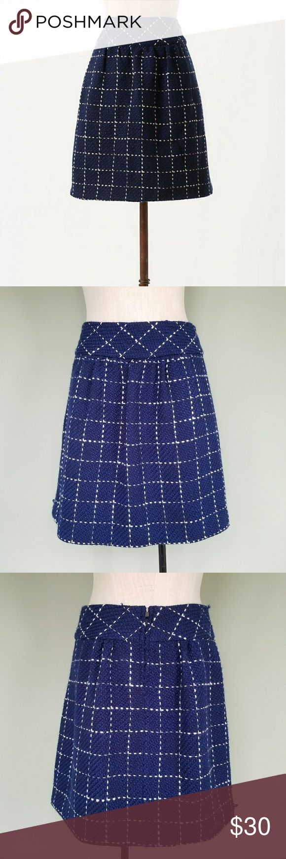 "Anthropologie Maeve Converging Bits Skirt Wool Maeve by Anthropologie. Size 8. Converging Bits skirt. Navy blue / white plaid knit. 70% Wool, 30% Acrylic  Front pockets. Zipper back.  20"" Length. Great condition. There are a couple loose thread pulls. Anthropologie Skirts"