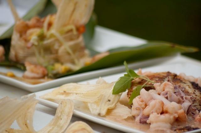 La gastronomía de Capurganá es rica en pescados y mariscos, preparados con toda la sazón de los lugareños, esta es una muestra de unos deliciosos calamares y camarones en su salsa con tajaditas de plátano.
