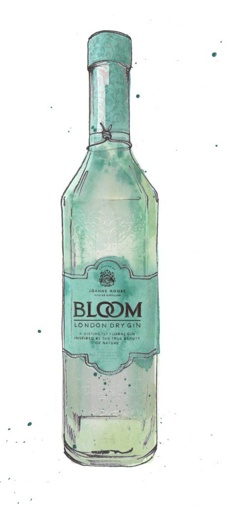Bloom Gin Bottle Watercolour Illustration. Click the 'visit' link to commission your own choice of gin illustrations