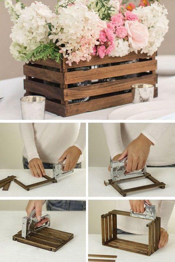 Caja de madera como macetero