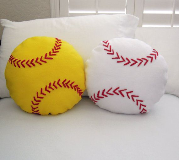 Softball Fleece Throw Pillow, Baseball Pillow