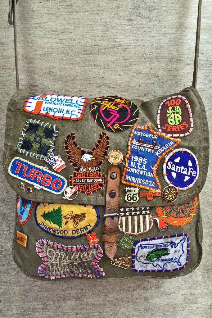 Pinewood Derby Vintage Patched Canvas Army Bag