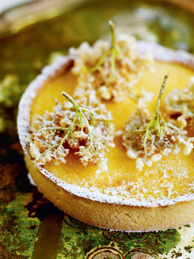 Lemon & gooseberry tart with elderflower fritters recipe