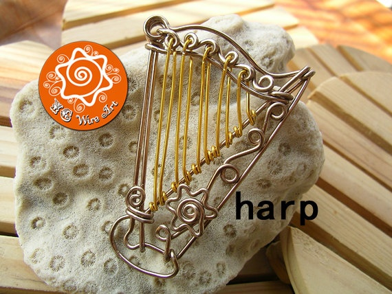 Great idea for student gifts    Custom Harp Wire Bending Ornament with Optional Custom Letters / Keychain / Pendant / Musical Instrument Hanging Ornament. $15.00, via Etsy.