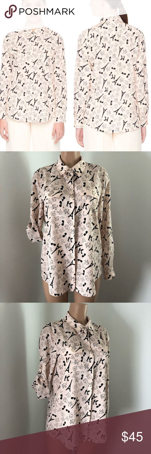 "NWOT Karl Lagerfeld Paris Printed Karltoon Blouse • ALL OVER SHADES BLOUSE • COLLAR NECKLINE • LONG SLEEVES WITH BUTTON CUFF TAB FOR ROLL UP • CONCEALED FRONT BUTTON PLACKET • CHEST FLAP POCKETS • ABOUT 28"" FROM SHOULDER TO HEM • 100% POLYESTER • MACHINE WASH Karl Lagerfeld Tops Button Down Shirts"