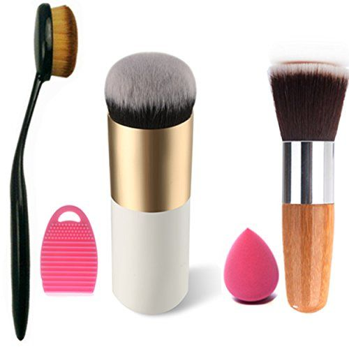Start Makers Oval Toothbrush Curve Foundation Brush Face Powder Brush Blush Makeup Cosmetic, Flat bamboo Brush Makeup Brush Cleaner Egg and a Mimi Sponge * You can find out more details at the link of the image.